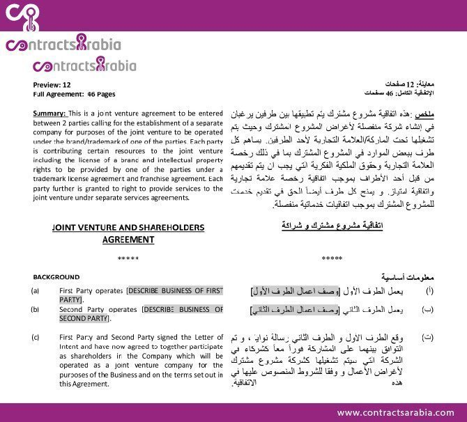 Joint Venture and Shareholders Agreement