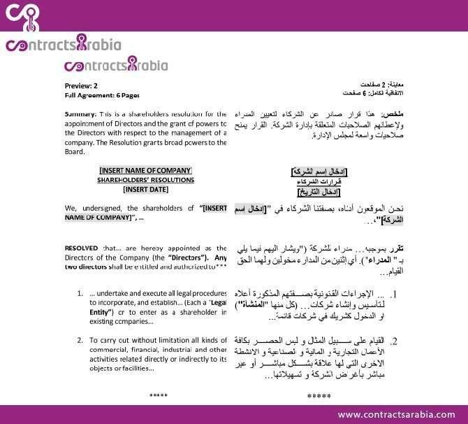 Shareholders Resolution